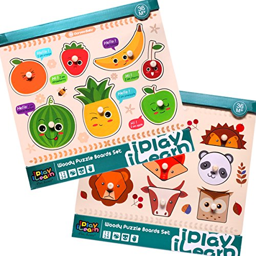 iPlay, iLearn Kids Wooden Peg Puzzles Play Set, Fruit Animals Shapes Knob Board, Learning Jigsaw, Preschool Gift, Educational, Developmental Toys for 3, 4 Year Olds Toddlers, Baby, Boys, Girls