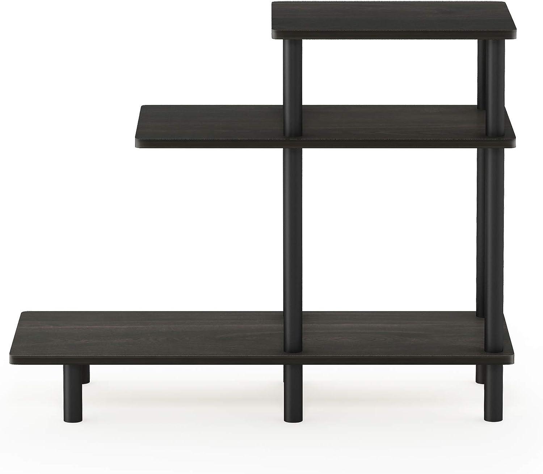 Furinno Turn-N-Tube 3-Tier Sofa Side Table, Espresso/Black