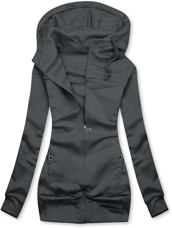 FABIURT Sweatshirt for Women Zip Up,Women's Solid Color Hoodie Long Sleeve Hooded Sweatshirts Jacket Coat with Pockets
