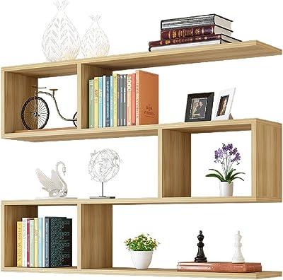 Li jing home Mensole mensole Creative Supporti per Montaggio a Parete armadi sospesi a Muro/armadi scaffali semplici/librerie a Muro (Color : Wood Color)