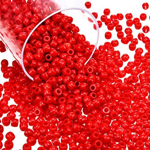 Blulu 1000 Stück Kunststoff Pony Perlen Verschiedene Undurchsichtige Pony Perlen Weihnachten Runde Perlen mit Aufbewahrungsbox für Heim Dekor Handwerk (Rot)