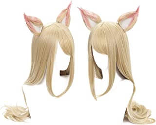 Women's Long Straight Blonde Cosplay Wig with 2 Ears
