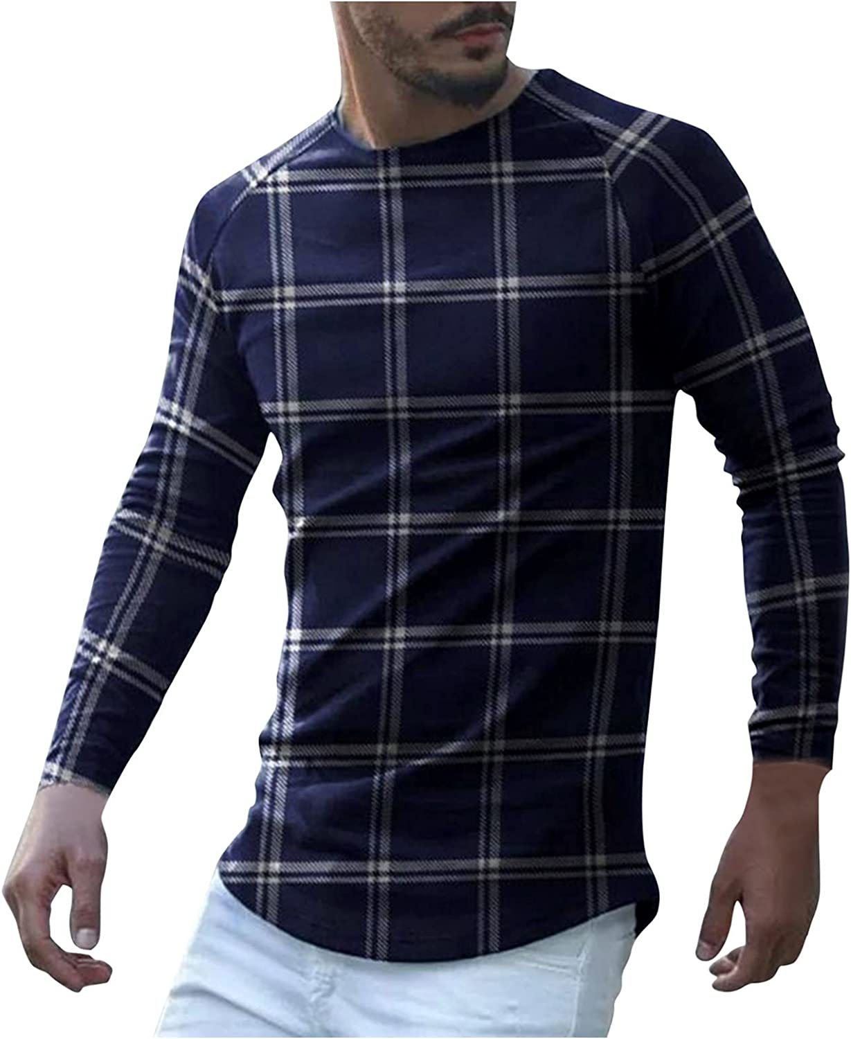 xoxing Shirts for Men Casual Autumn Plus Size Plaid Print Long Sleeve Tops Crew Neck Loose T-Shirt Blouse Pullovers