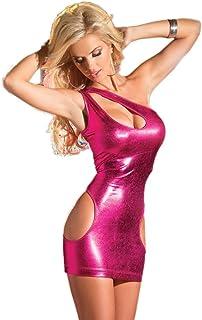 f4f2e85d59 Laimeng_world Women Sexy PU Leather Cut Out Bodycon Mini Nightclub Dress
