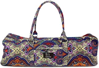 Premium Yoga Pilates Mat Organizer Duffles Tote Bag with Pocket and Zippered - Patterned 12OZ Cotton Canvas by Zuckbergs (karma)
