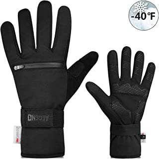 aegend Touch Screen Warm Cycling Gloves with Zipper Pockets, Winter Sports Gloves with Thermal 3M Thinsulate, Water Resistant for Daily Use, Biking, Working, Skiing, Hunting for Men Women