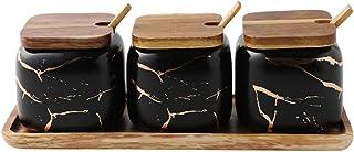 Sywlwxkq Sucrier, Bol à épices en marbre en céramique avec Couvercle et cuillère à étiquette, boîtes de Conserve sel MSG s...