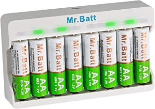 Mr.Batt NiMH AA Rechargeable Batteries (8-Pack) and Smart AA AAA Battery Charger