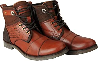 FAUSTO Men's Genuine Leather Outdoor High Ankle Boots