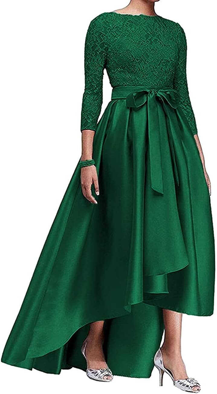 Women's Satin Mother of The Bride Dresses High Low Evening Formal Gowns Wedding Lace 3/4 Sleeve Guests Dress Plus Size