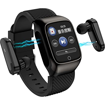 S300 2 in 1 TWS Smart Bracelet Wireless Bluetooth Headset Combo Smart Watch Men Earbuds with Bluetooth Earphones Smartwatch Music Sports Exercise Run Two in One for Android iOS(Black)