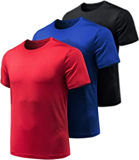 Men's (Pack of 3) Quick-Dri Fit Tee Performance Short Sleeve Mesh Top Crew Athletic T-Shirt