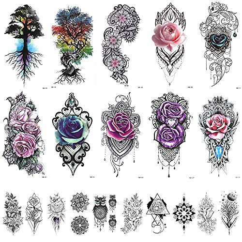 20 Sheets Large 3D Rose Peony Flowers Temporary Tattoos Stickers for Women Girl, Waterproof Fake Boho Flower Tree of life Tattoo Stickers Blossom Colorful Bohemian Chic Arm Body Art Tatoo Sticker