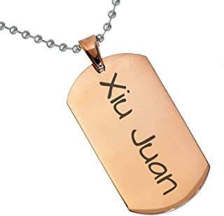 Stainless Steel Silver Gold Black Rose Gold Color Baby Name Xiu Juan Engraved Personalized Gifts For Son Daughter Boyfriend Girlfriend Initial Customizable Pendant Necklace Dog Tags 24'' Ball Chain