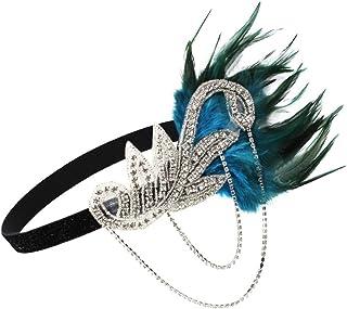 Sharplace Diadema de Boda Nupical Cinta de Cabeza de Pluma Flapper Tocado Época 1920s Great Tocado Accesorio de Pelo Disfraz Estilo Charleston