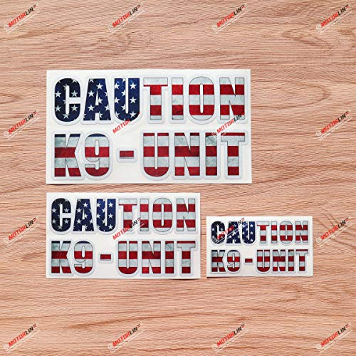 Caution K9 Unit Police Dog American Flag Vinyl Decal Sticker - 3 Pack Reflective, 4 Inches, 6 Inches, 8 Inches - Grunge Subdued Vintage