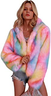 Festnight Women Rainbow Print Long Sleeve Shaggy Lapel Faux Fur Coat Short Jacket Outwear