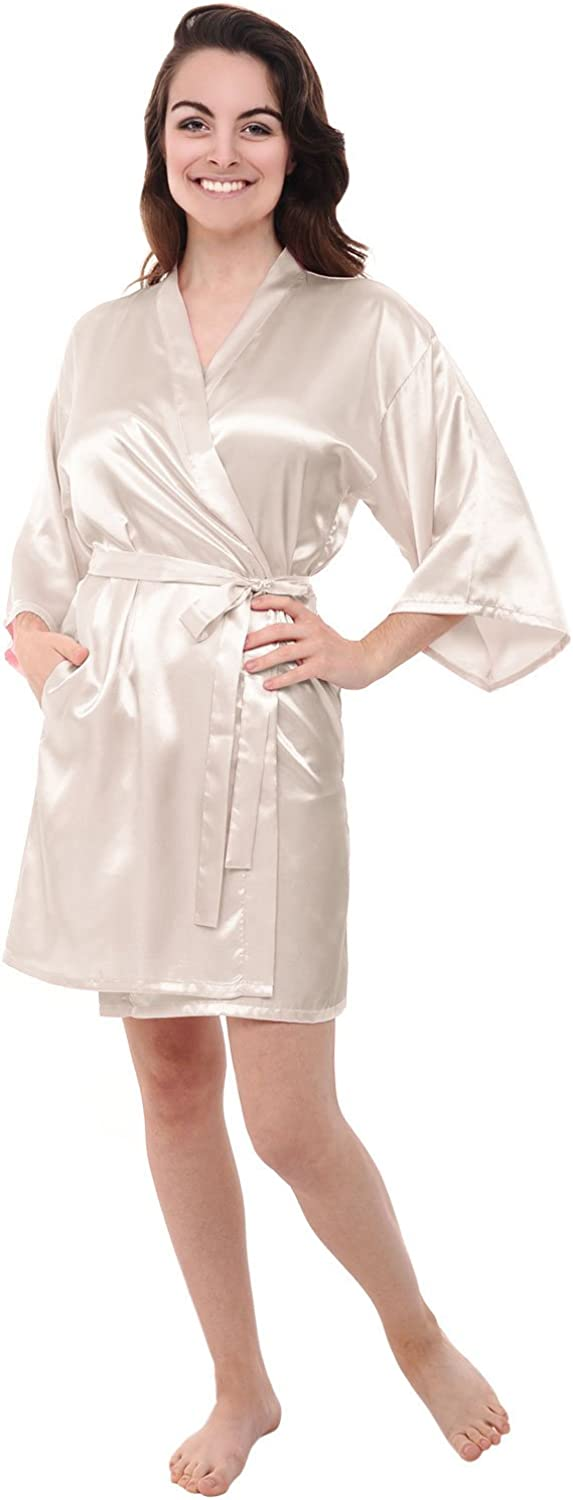 Alexander Del Rossa Womens Satin Robe, MidLength Dressing Gown  Classic colors and Prints