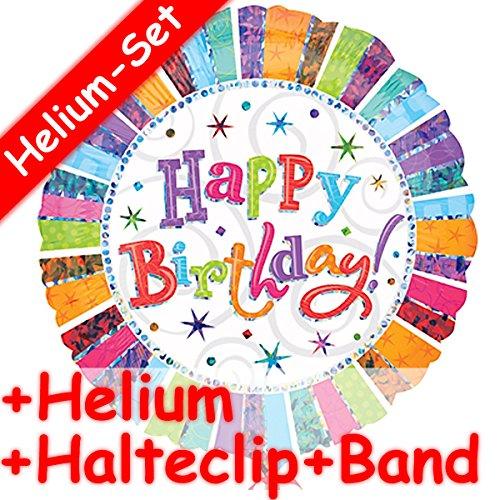 Folieballonset * Happy birthday * + Helium vulling + houder clip + band * // opgeblazen met ballongas // decoratieve verjaardag folie ballon luchtballon verjaardag kinderverjaardag hartelijke felicitatie