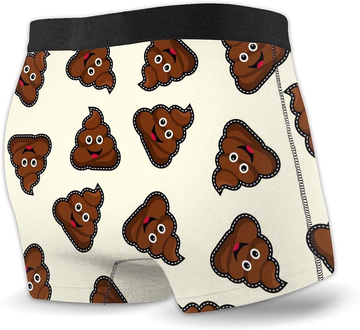 Randolph Wordsworth Mens Boxer Briefs Cute Funny Happy Poop Face Breathable Underwear