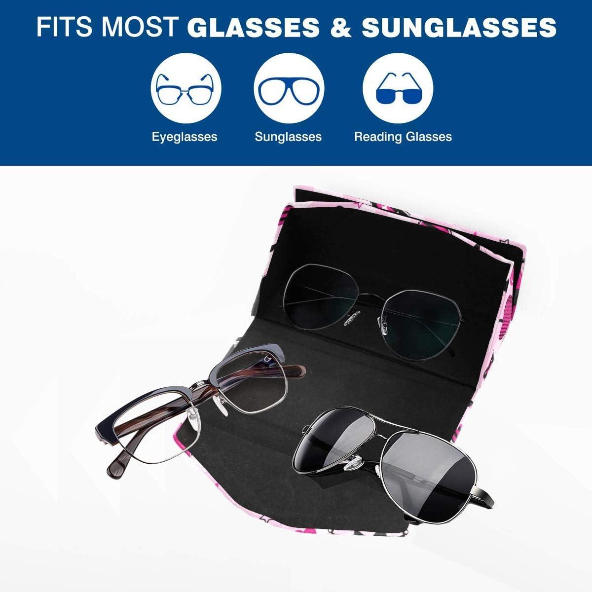 Glasses Case Cute Skull Aggressive Girlis Eyeglass Case Leather Magnetic Folding Hard Case Sunglasses Eyewear Protective Case