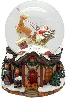 Lightahead Musical Santa Water Snow Globe Playing a Tune & Rotating for Christmas in PolyResin 80MM (Santa on Sledge)