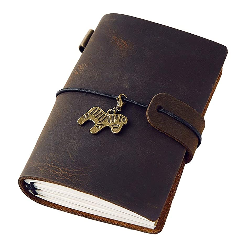 日記帳 A7革ノート革は、ルーズリーフメモ帳小さな日記ポータブルノートを引き裂くことができます192ページ ノート (Color : Dark brown, サイズ : 10.5*7.5cm)