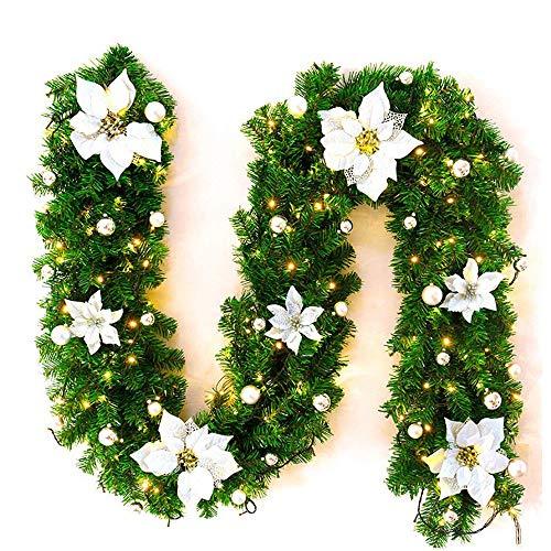Bcamelys Weihnachts Girlande, Weihnachtsgirlande mit LED Tannengirlande Tannenzweiggirlande Deko Lichterkette Treppe Christmas Decorations 2.7m (Größe 4)