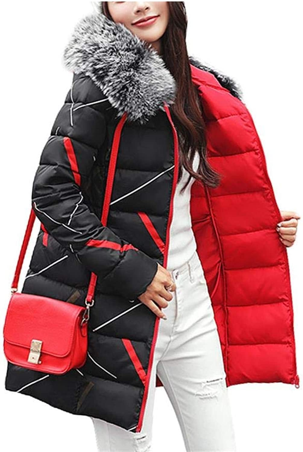 Dotoo Winter Women's Cotton Thick Long Fashion Hooded Slim Red Lined Warm Jacket