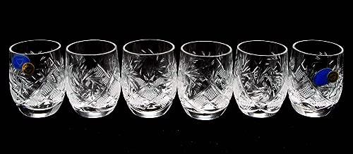 SET of 6 Russian CUT Crystal Shot Glasses