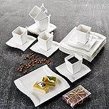 MALACASA, Serie Flora, 18 TLG. Set CremeWeiß Porzellan Kaffeeservice Geschirrset mit je 6 Kuchenteller, 6 Tasse 220ml, 6 Untertasse für 6 Personen - 9