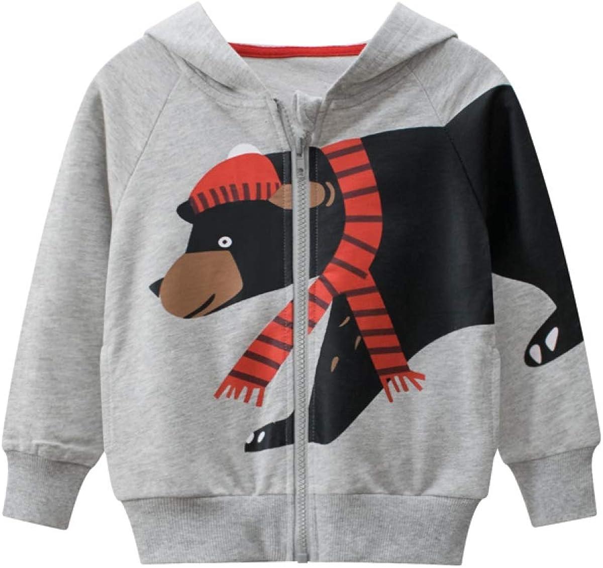 LeeXiang Toddler Max 83% OFF Boys Full Zip Dinosaur Swea Comfortable shipfree Hoodies