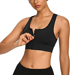 WOWENY Women's Zip Front Sports Bra with Removable Padded Cups Wireless Post-Surgery Bra Racerback Top Active Yoga Bra