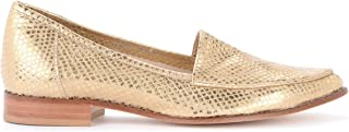 L'ARIANNA Woman's Gold-Colored Moccasin in Reptile Effect Leather
