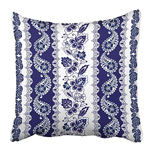AEMAPE Fundas de Almohada de Tiro Flor Encaje Bordes Bohemios Rayas Azul Motivos Florales Rosas Paisleys Étnico Blanco 40X40 Cm Funda de cojín