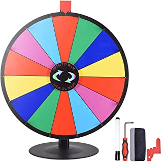 "WinSpin 24"" 14 Slot Tabletop Color Dry Erase Prize Wheel +Stand Fortune Spinning Game Tradeshow"