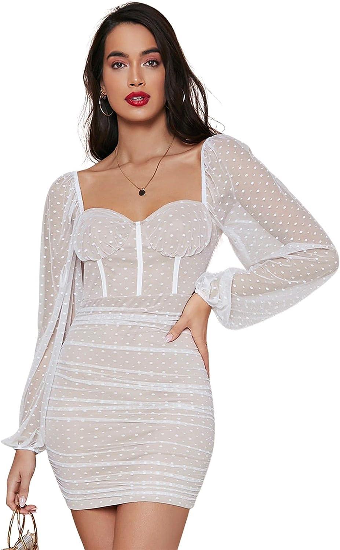 SheIn Women's Lantern Long Sleeve Mesh Sweetheart Neck Bustier Bodycon Dress