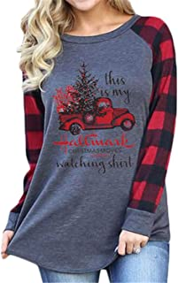 This is My Hallmark Christmas Movies Watching Shirt Raglan Sleeve Splicing Plaid Baseball Shirt Top