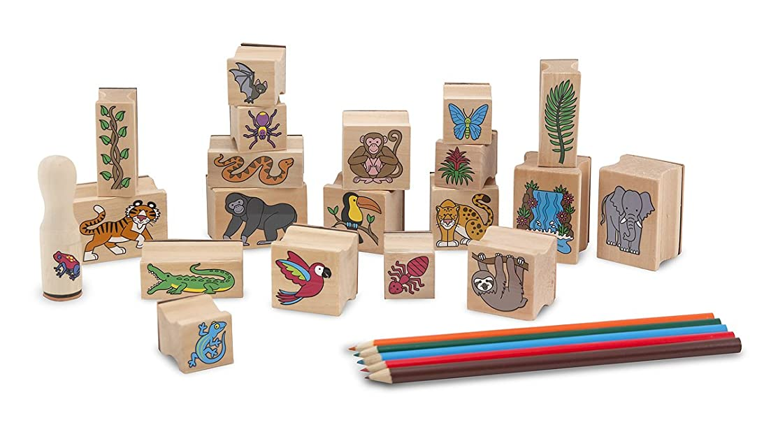 Melissa & Doug Stamp-a-Scene Stamp Set: Rain Forest - 20 Wooden Stamps, 5 Coloured Pencils, and 2-Colour Stamp Pad