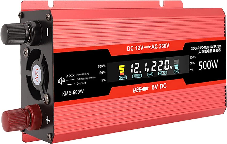 Inversor de Corriente portátil para Coche de 500 W, Transformador Adaptador DC12v / 24v a Ac110v / 220v 500w, con Pantalla LCD, Accesorios para automóviles