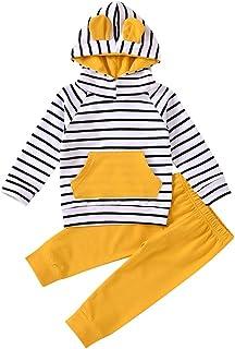Toddler Baby 2pcs Stripe Pant Sets Newborn Baby Hoodie Outfit Set 18-24M Yellow