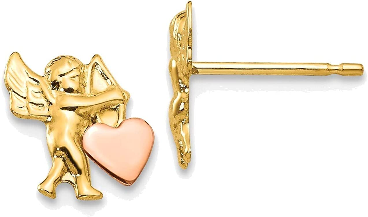 Madi K Polished & Rhodium Cupid Heart Post Earrings in 14K Yellow Gold with Rhodium Plating