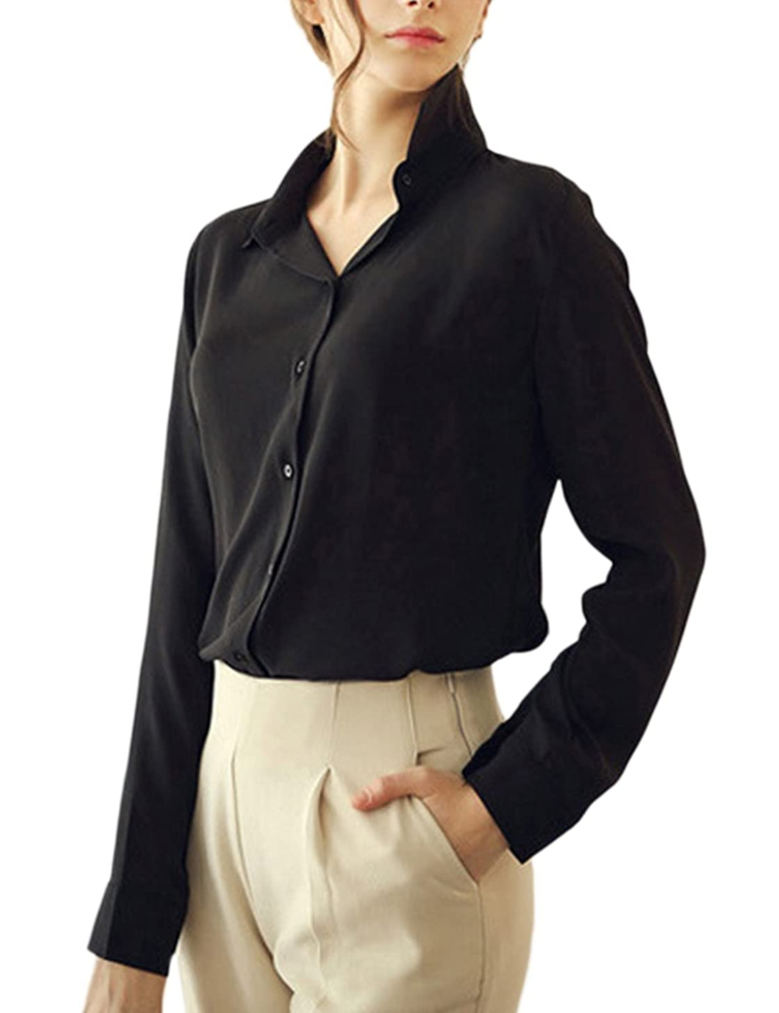 Womens Office Blouse Tops Casual Long Sleeve Lapel Button OL Shirts