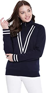 TEXCO Navy Mock Neck Women Sweatshirt