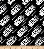 1/2 Yard - Star Wars Logos in White on Black Cotton Fabric - Officially Licensed (Great for Quilting, Sewing, Craft Projects, Throw Blankets & More) 1/2 Yard X 44'