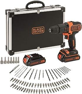 Black+DeckerBDCHD18BAFC -Taladro con 80 accesorios, 2 Baterías de 1.5Ah y Maletín