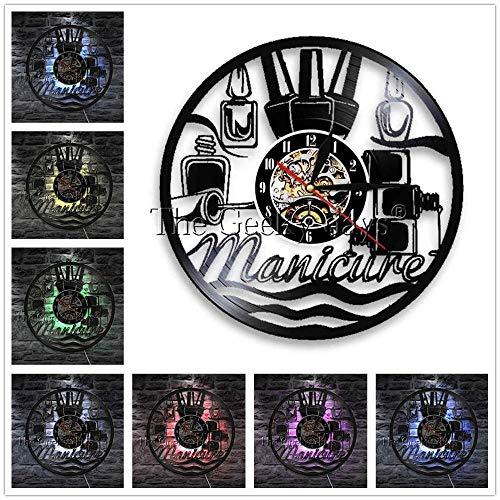 1 Stück Maniküre Wanduhr Nagellack Beauty Store Vinyl Schallplatte Wanduhr Nagel Salon Wanduhr Dekor Kreative Wandkunst-rot_Mit