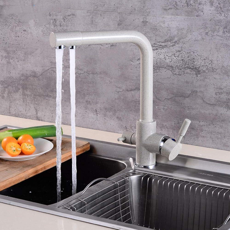 Hiwenr 360 Swivel Beige Messing Küchenarmaturen Deck Montiert Mischbatterie Wasserfilter Mischbatterie Kran Für Die Küche