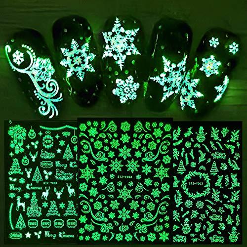 JMEOWIO 9 Hojas Decoración Navidad Pegatinas de Uñas, Copo de Nieve Clavo de Navidad 3D DIY Autoadhesivas Nail Art Stickers para Mujeres Decorativas Accesorios (Luminoso)
