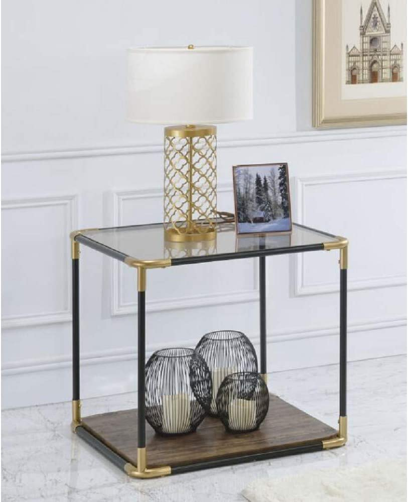 TITA-DONG Heleris Super intense SALE End Table in Black Glass unisex 81012 Smoky Gold